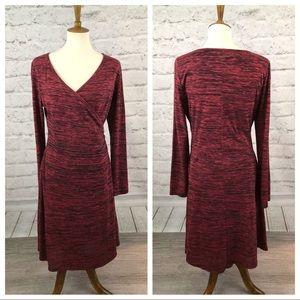 Prana Mock Wrap Dress Long Sleeves Lined